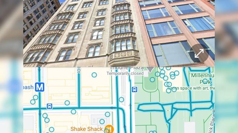 Google Haritalar, Sokak Görünümü ve Haritayı Bölünmüş Ekran Olarak Göstermeye Başladı