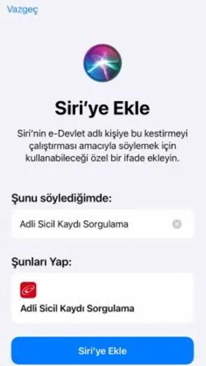 Siri ile Adli Sicil Kaydı Sorgulama