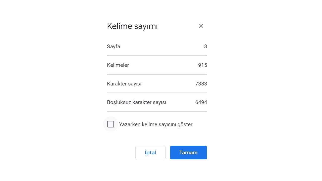 google docs kelime sayısı