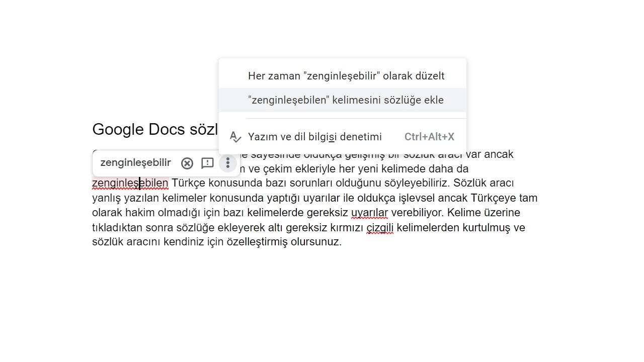 google docs sözlük