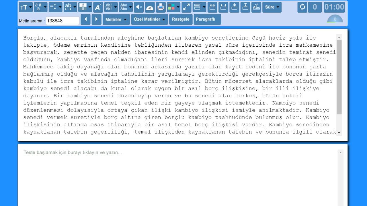 türk eğitim klavye hız testi