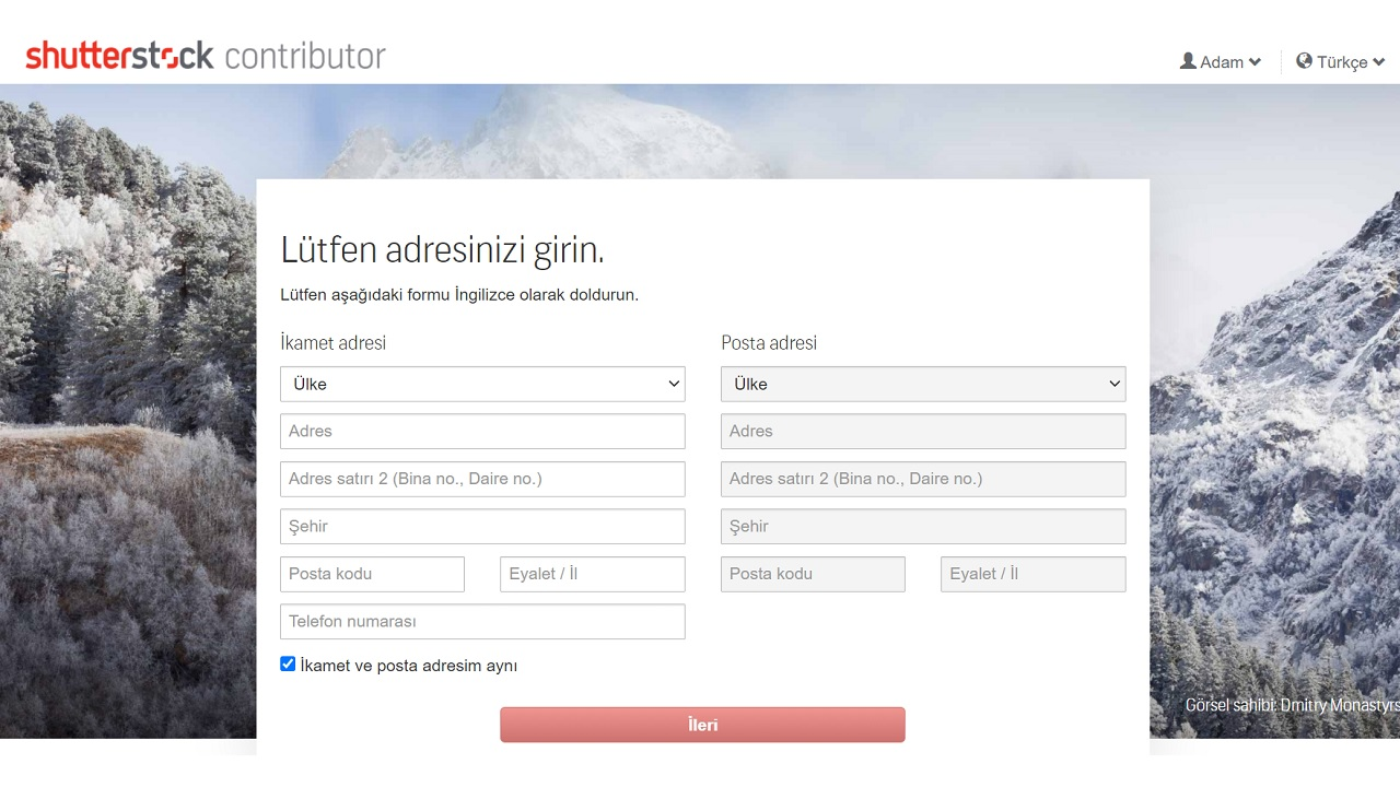 Shutterstock adres sayfası