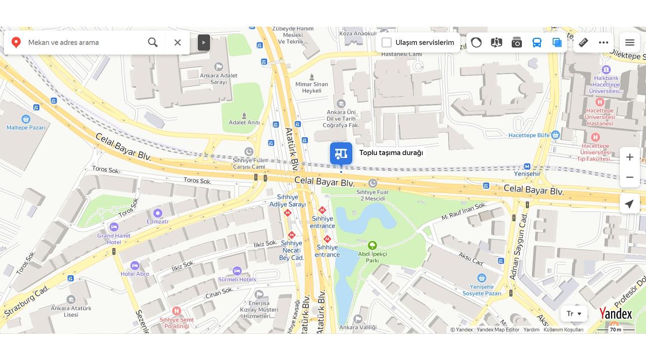 yandex haritalar, toplu taşıma