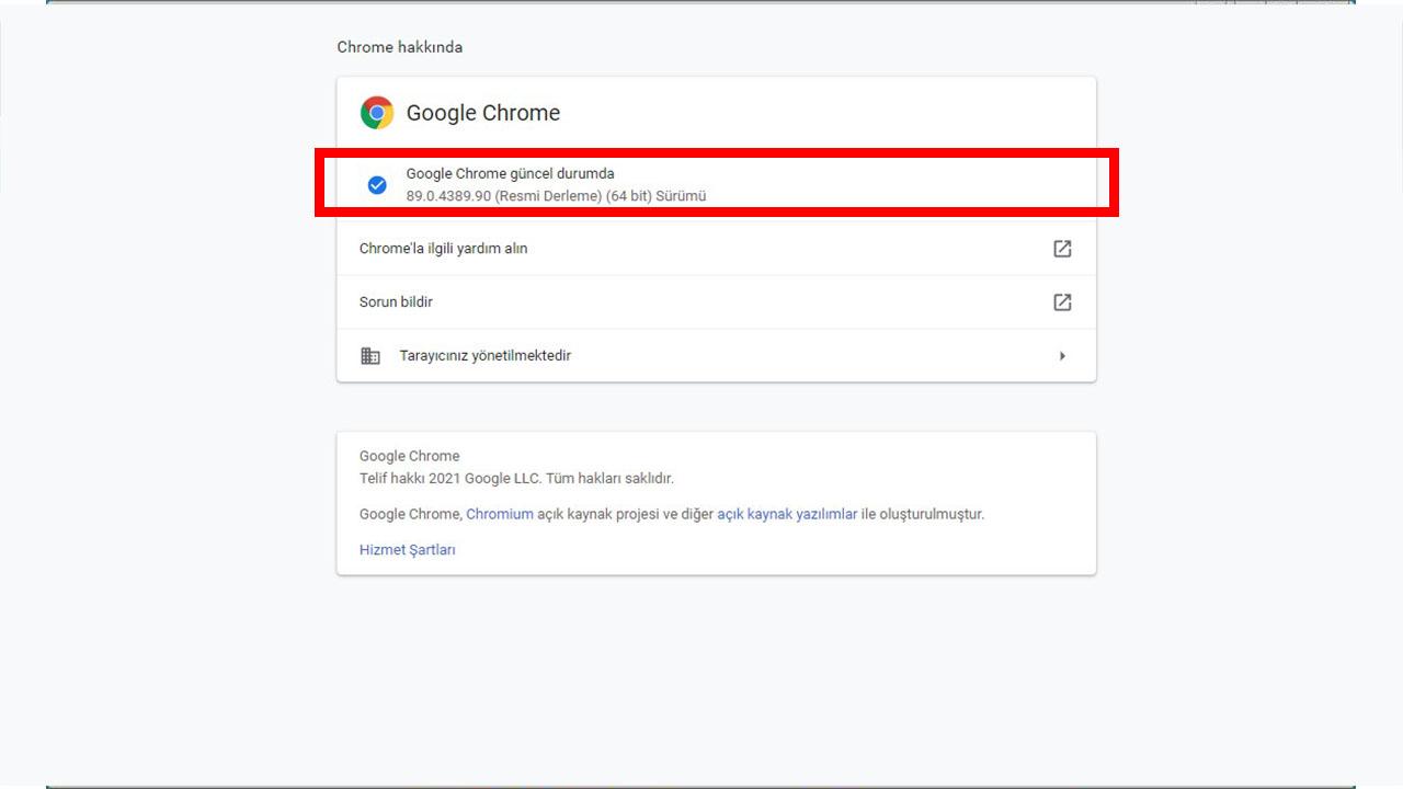 Google Chrome Sürüm Kontrolü