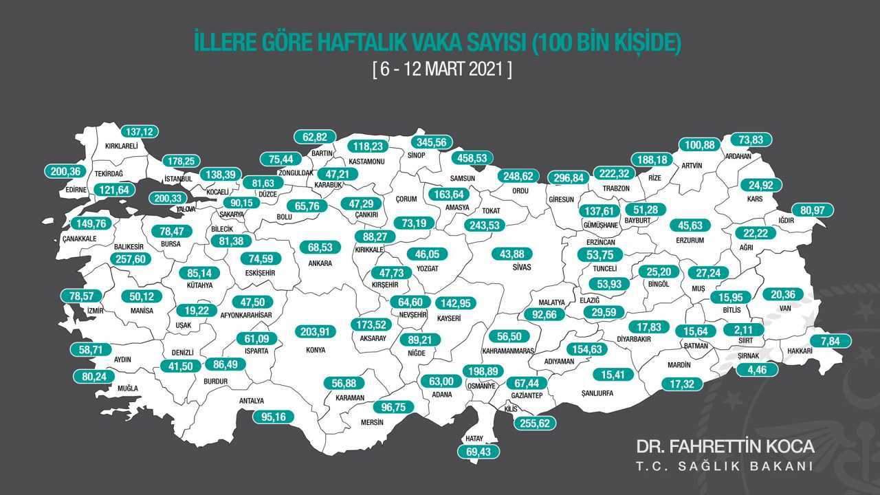 6-12 mart koronavirüs haritası