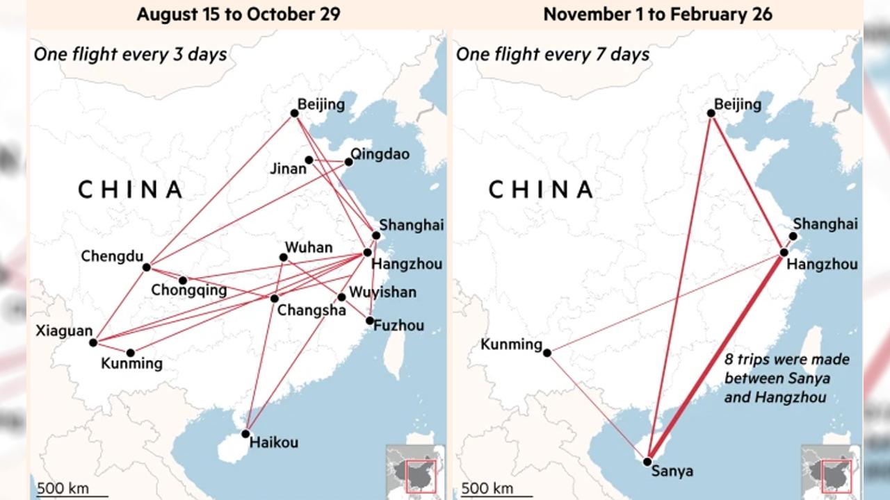 Jack Ma'nın jetinin uçuş kayıtları (15 Ağustos - 29 Ekim & 1 Kasım - 26 Şubat)