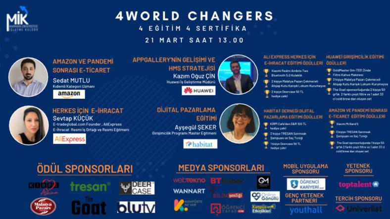 Girişimcilik Sektörünün Önde Gelen İsimlerinden Eğitim Alıp Hediye Kazanabileceğiniz 4World Changers, 21 Mart'ta Başlıyor