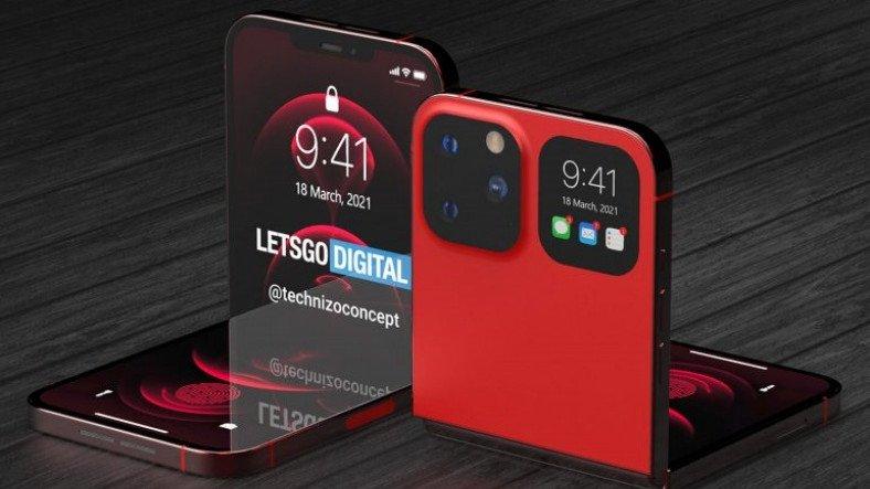 iPhone 12 ile Galaxy Z Flip'i Bir Araya Getiren Katlanabilir iPhone Konsepti [Video]