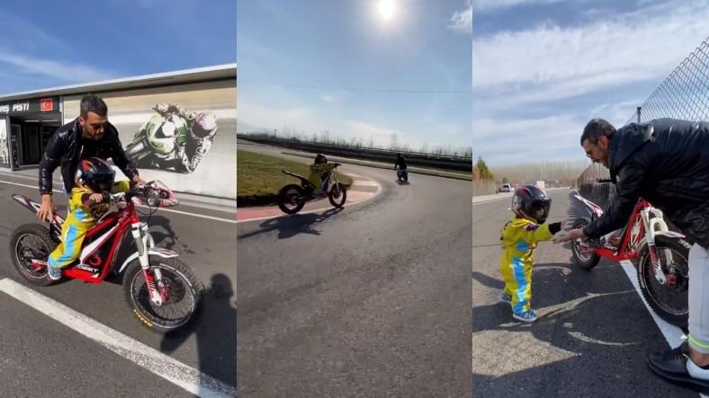 Kenan Sofuoğlu'nun 2 Yaşındaki Oğlunun Yürümeden Önce Motor Sürdüğü Video Viral Oldu