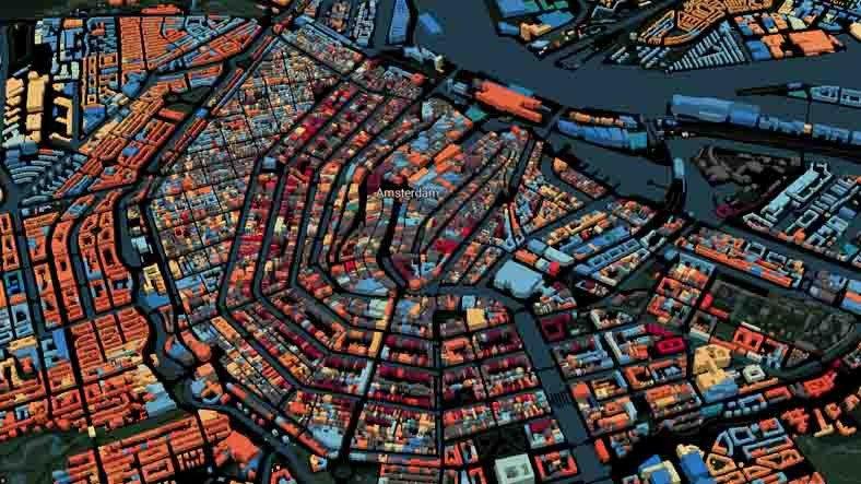 'Kitleyen' Sitelerde Bugün: Hollanda'daki Binaları Yaşlarına Göre Renklendiren Harita