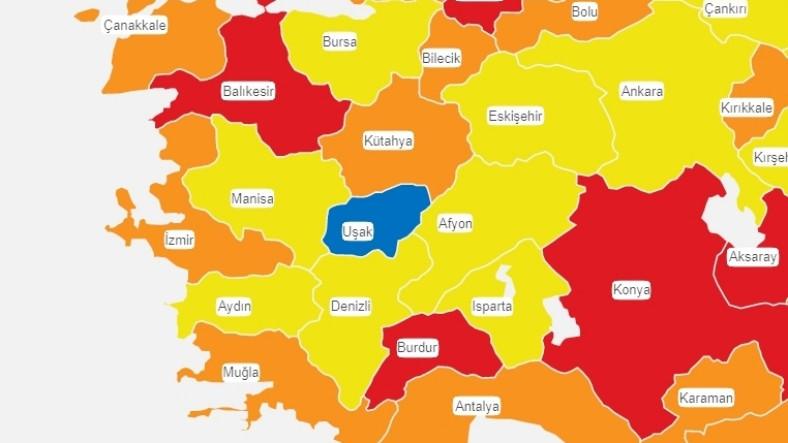 Koronavirüs Risk Haritasında Batının Tek 'Mavisi' Uşak'a Nazar Değdi: Rengi Değişti