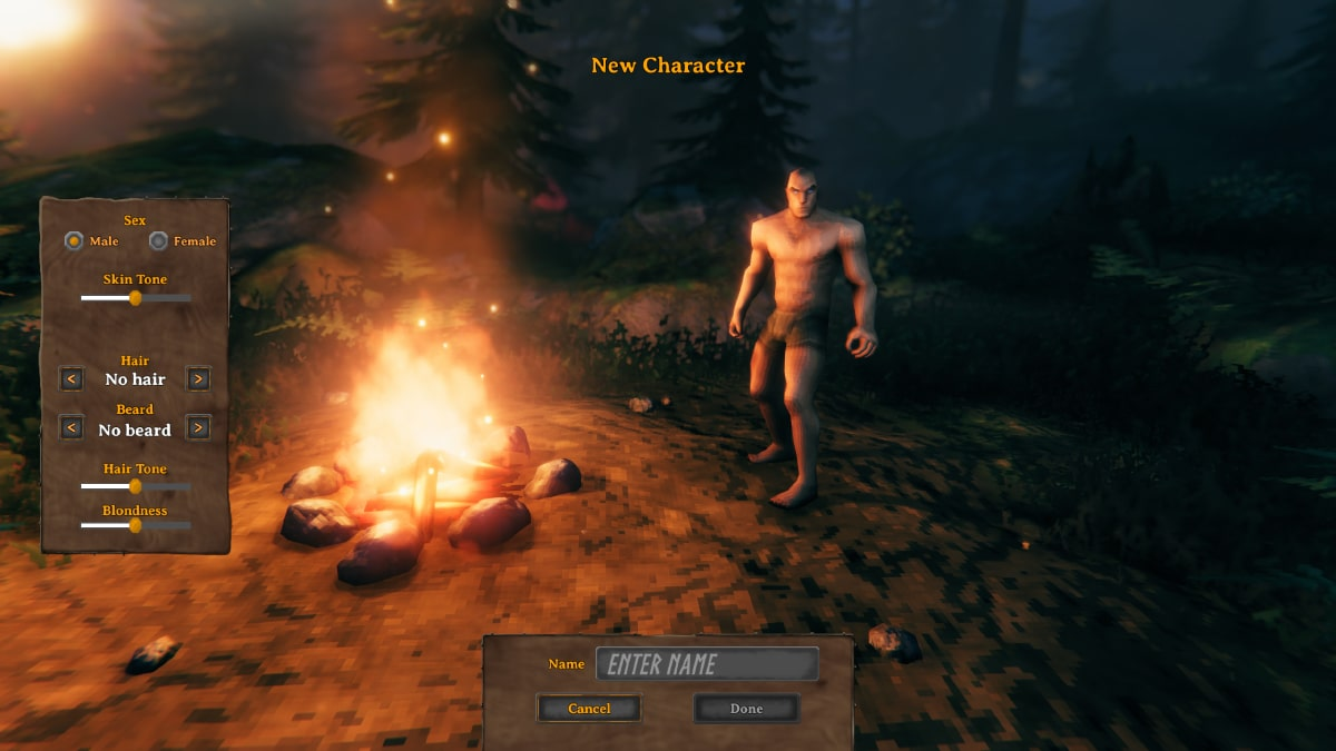 valheim karakter yaratma ekranı