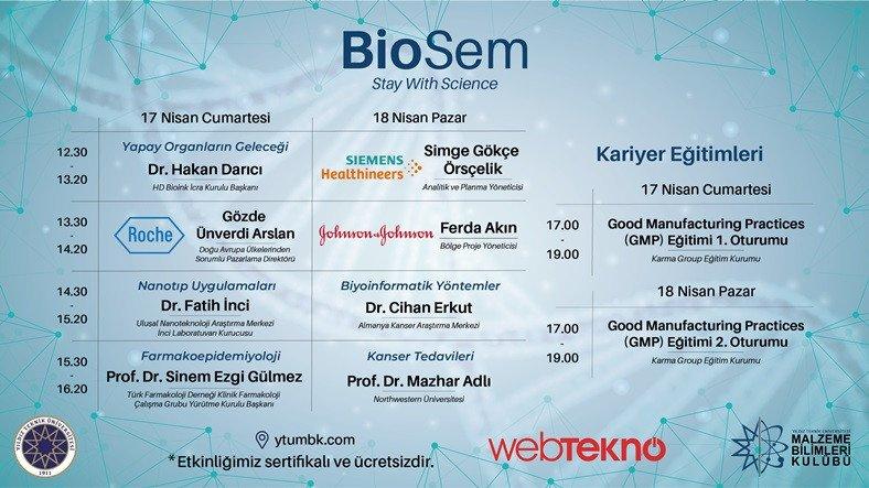 Biyomühendislik Alanında Ufuk Açıcı Oturumların Gerçekleştirileceği BioSem'21 Yarın Başlıyor
