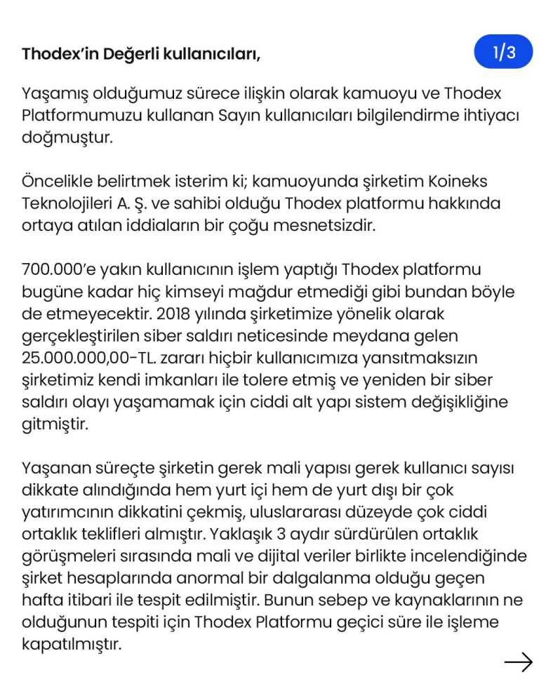 Thodex açıklama 1