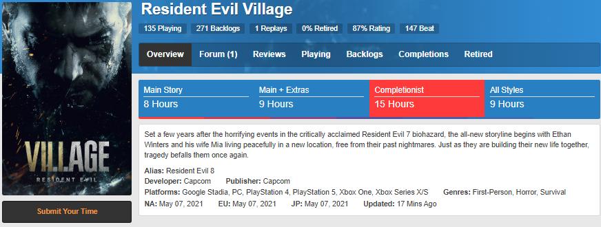 resident evil village oyun uzunluğu