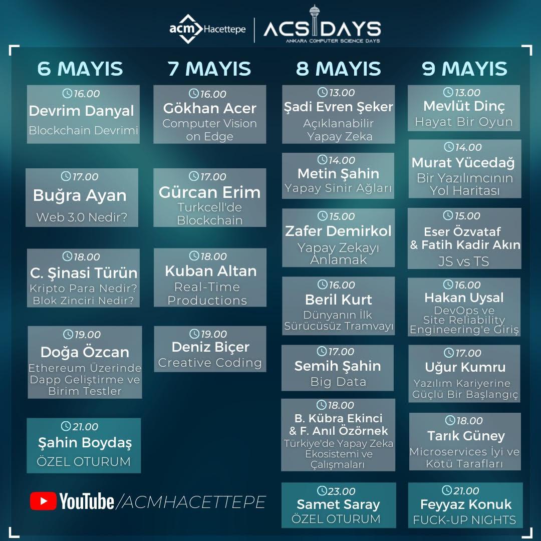 ACSDays etkinlik takvimi