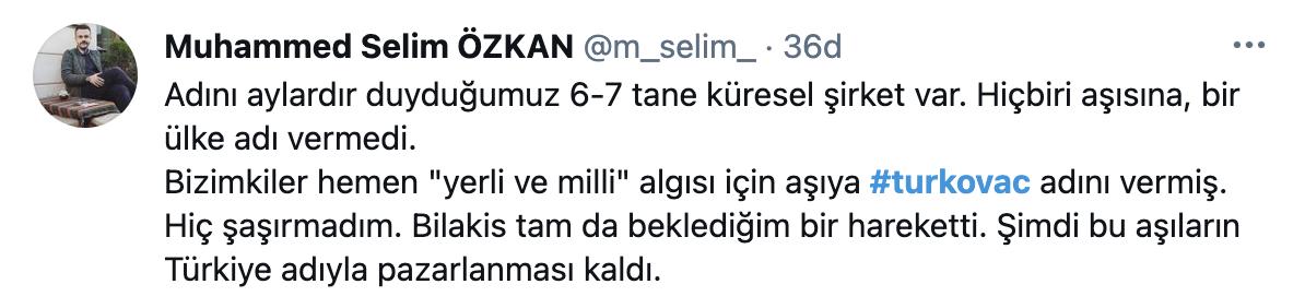 TURKOVAC tweet