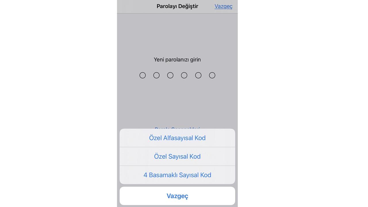 iPhone şifre değiştirme
